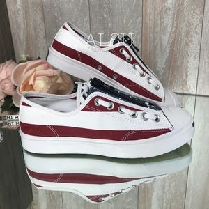 Converse Jack Purcell Zip OX Canvas White Garnet W
